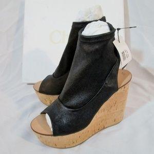 NEW CHLOE NAPPA LAMB Leather Cork Wedge Sandal